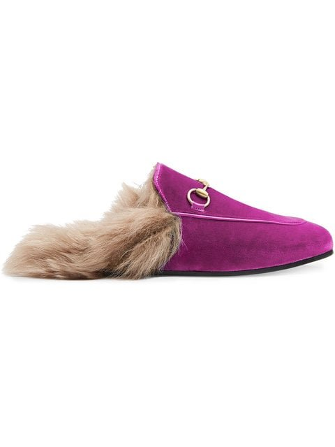 Gucci Pink Princetown Velvet Fur Lined Mules - Farfetch