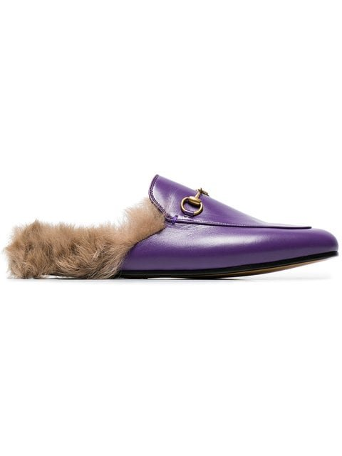 Gucci Purple Princetown Fur Lined Leather Mules - Farfetch