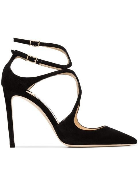 Jimmy Choo Black Lancer Suede Pointed Toe Leather Strappy Pumps  - Farfetch