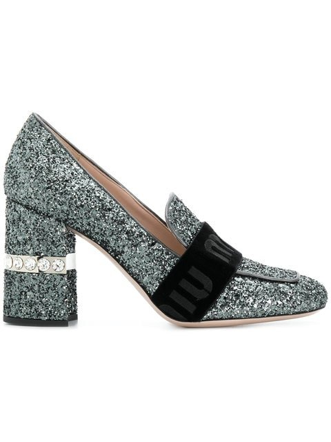 Miu Miu Glitter Pumps - Farfetch