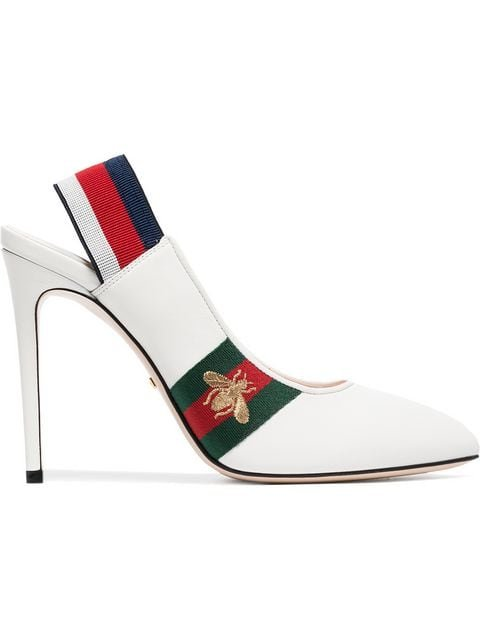 Gucci White Sylvie Web Leather Slingback Pumps - Farfetch