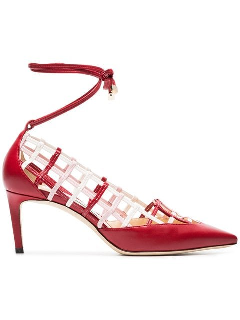 Jimmy Choo Red And White Soraya 65 Leather Pumps - Farfetch