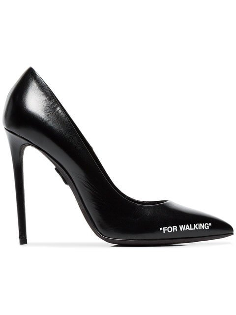 Off-White Black For Walking 110 Leather Pumps - Farfetch