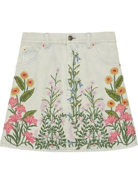 Gucci Denim Skirt With Flowers - Farfetch