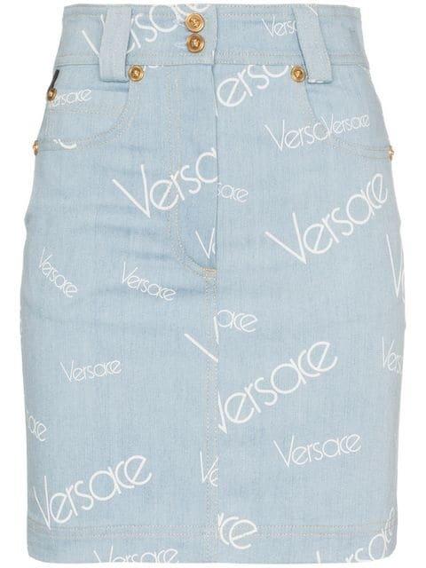 Versace High Waisted Logo Print Denim Skirt  - Farfetch