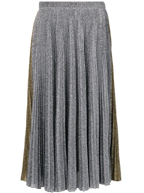 Philosophy Di Lorenzo Serafini Two-tone Metallic Pleated Skirt - Farfetch