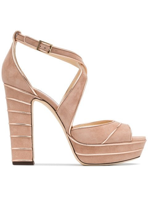 Jimmy Choo Ballet Pink April 120 Suede Platform Sandals - Farfetch