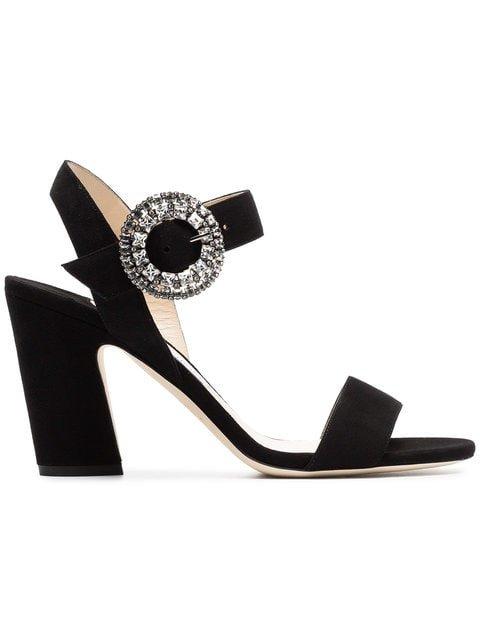 Jimmy Choo Black Mischa 85 Suede Leather Sandals - Farfetch