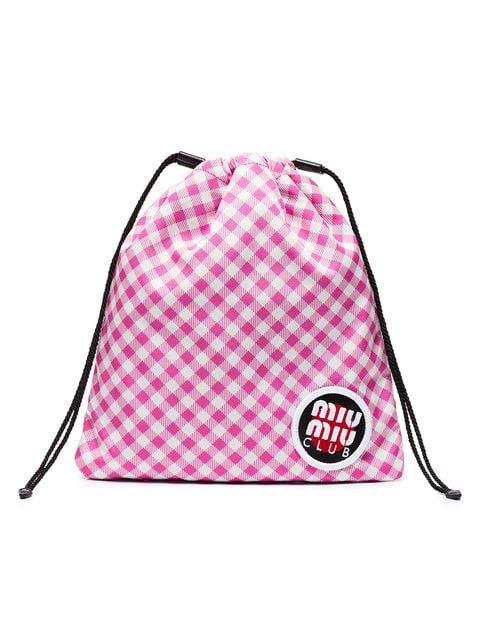 Miu Miu Pink Club Patch Gingham Pouch  - Farfetch