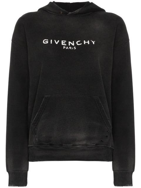 Givenchy Logo Printed Distressed Hoodie - Farfetch
