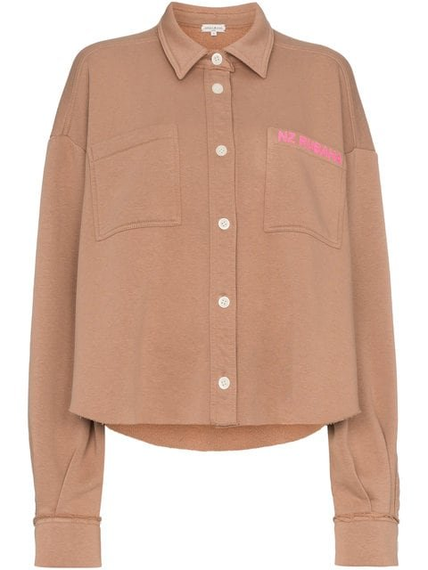 Natasha Zinko Text Print Button Down Jersey Cotton Blend Shirt - Farfetch