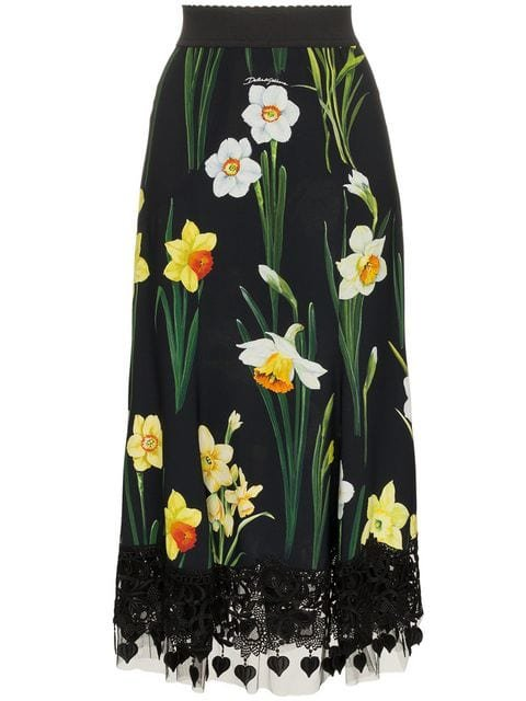 Dolce & Gabbana Floral Print Mermaid Lace Skirt - Farfetch
