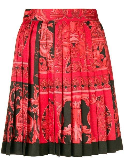 Versace Baroque-print Pleated Skirt - Farfetch