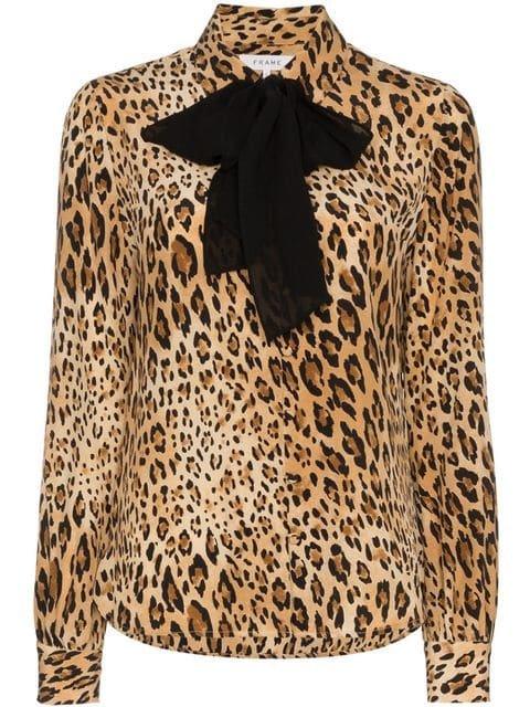 Frame Denim Leopard Print Button Down Silk Blouse  - Farfetch