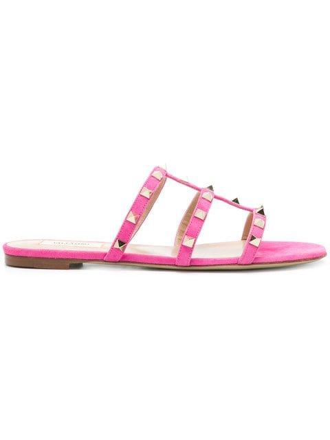 Valentino Rockstud Open Back Sandals - Farfetch