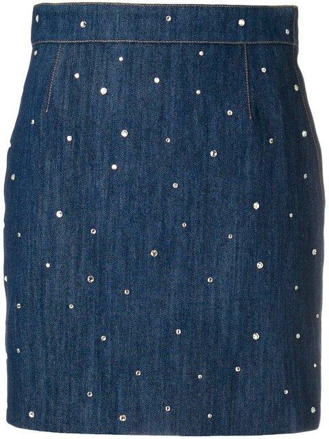 Miu Miu Embellished Denim Mini Skirt - Farfetch