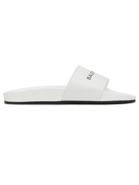 Balenciaga White Logo Pool Slides - Farfetch