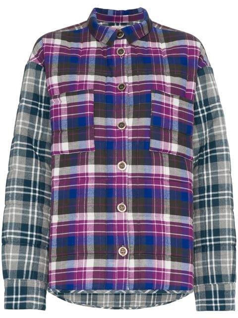 Natasha Zinko Check Print Button Down Long Sleeve Cotton Shirt - Farfetch