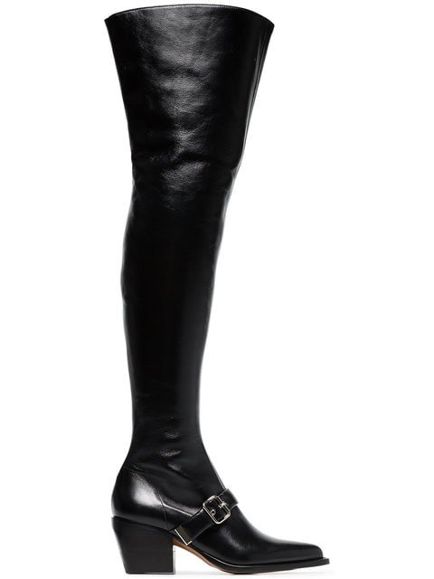 Chloé Black Over The Knee 80 Leather Boots - Farfetch