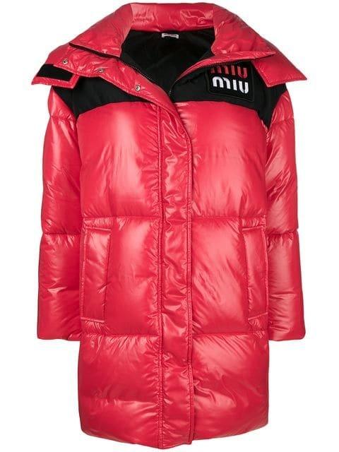 Miu Miu Logo Patch Puffer Jacket - Farfetch