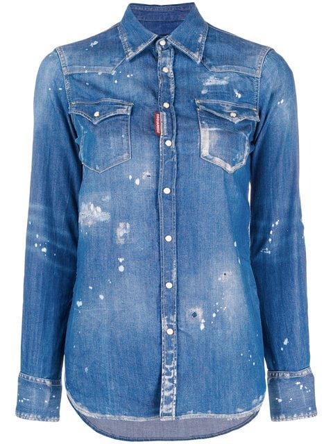 Dsquared2 Distressed Denim Shirt - Farfetch