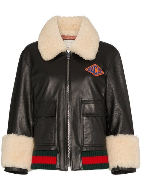 Gucci Logo Patch Shearling Trim Leather Bomber Jacket - Farfetch