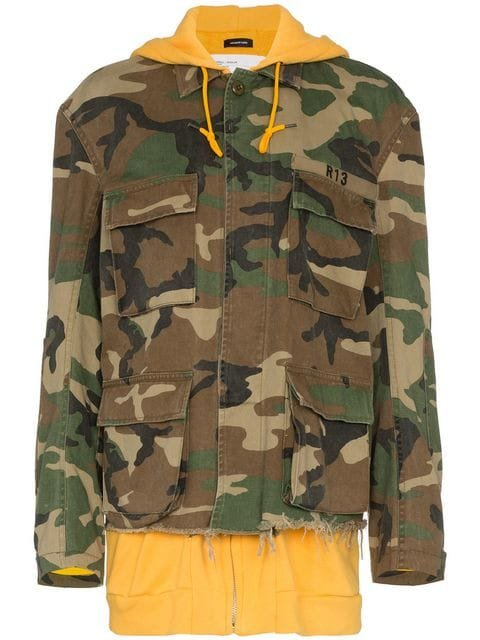 R13 Camouflage Hooded Cotton Jacket - Farfetch
