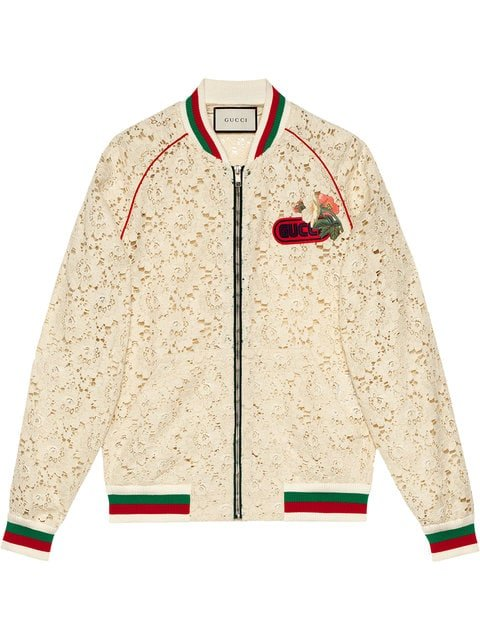 Gucci Flower Lace Bomber Jacket - Farfetch