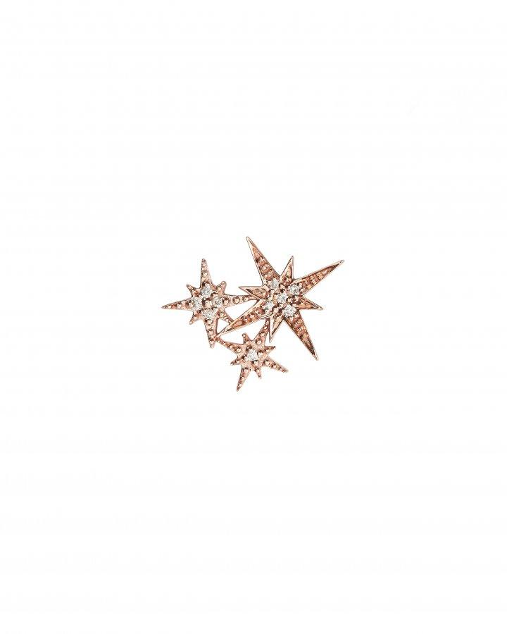 Triple Starburst Diamond Stud Earring