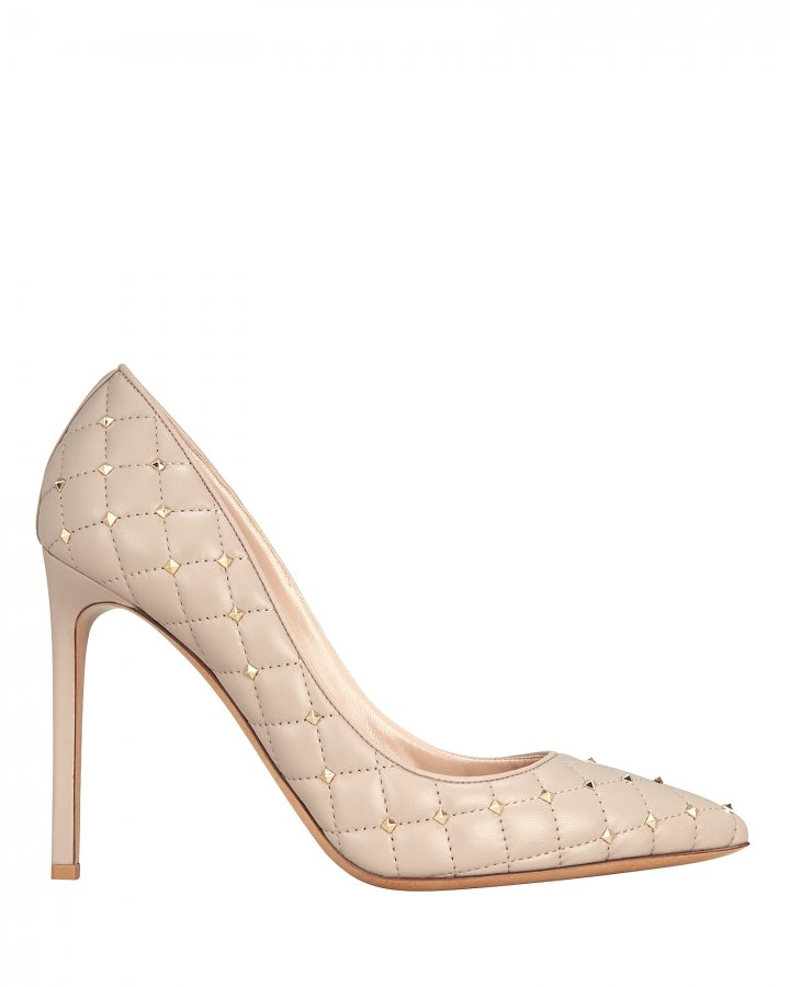Quilted Rockstud Nude Pumps