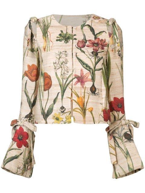 Oscar De La Renta Cropped Flower Jacket - Farfetch