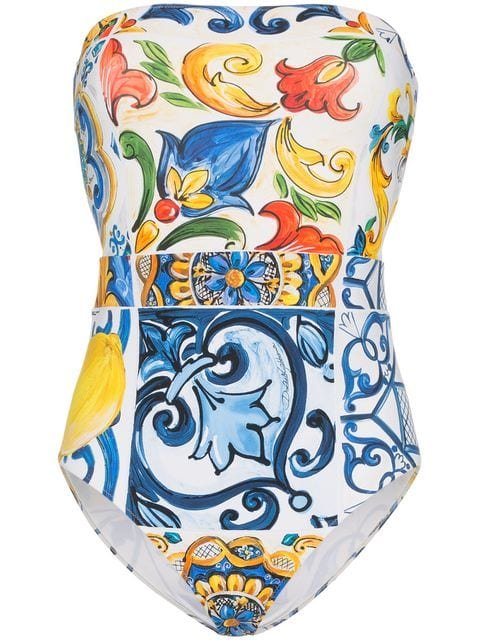 Dolce & Gabbana Majolica Printed Strapless Swimsuit - Farfetch