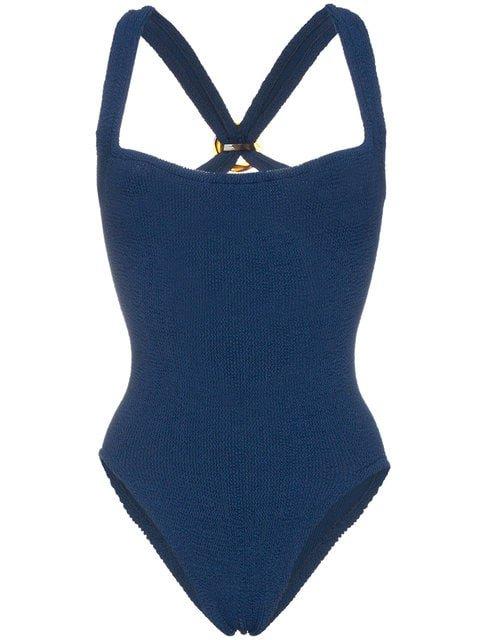 Hunza G Zora Embellished Seersucker Swimsuit - Farfetch