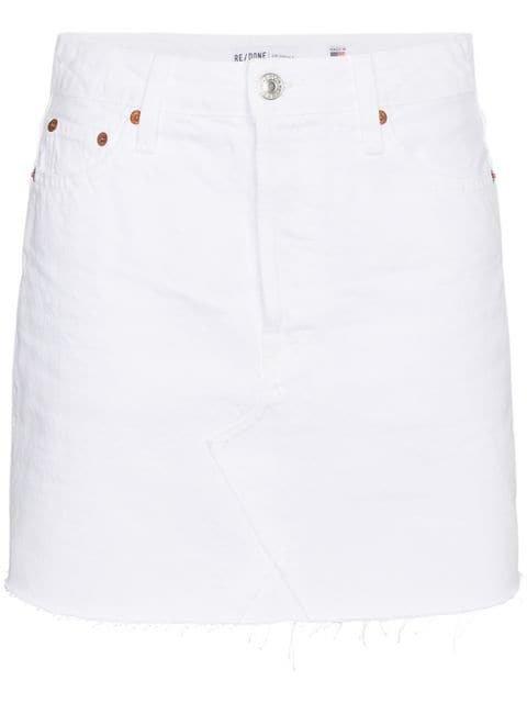 Re/Done High Waisted Denim Mini Skirt - Farfetch