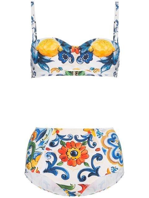 Dolce & Gabbana High Waisted Majolica Print Bikini - Farfetch