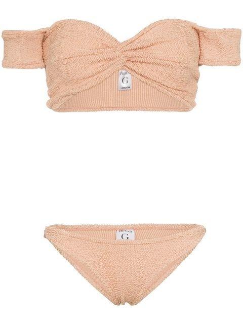 Hunza G Brigitte Knotted Off-shoulder Bikini - Farfetch