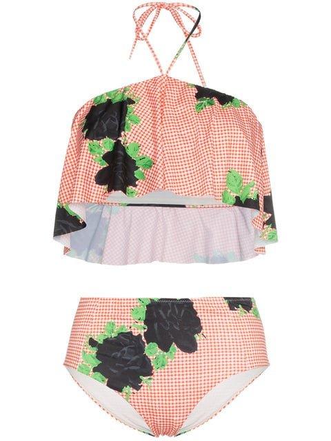 Ganni Check Print High Waist Bikini With Floral Print - Farfetch