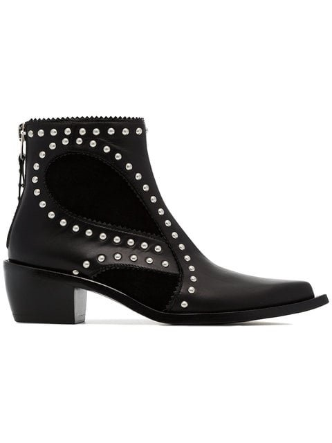 Alexander McQueen Black Cowboy 40 Studded Leather Boot - Farfetch