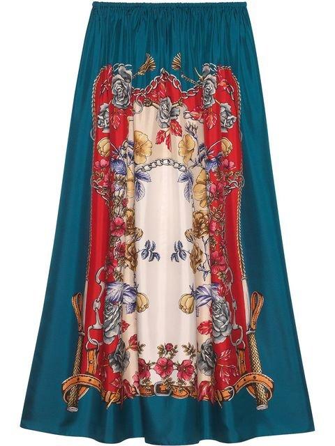 Gucci Silk Skirt With Boudoir Print - Farfetch