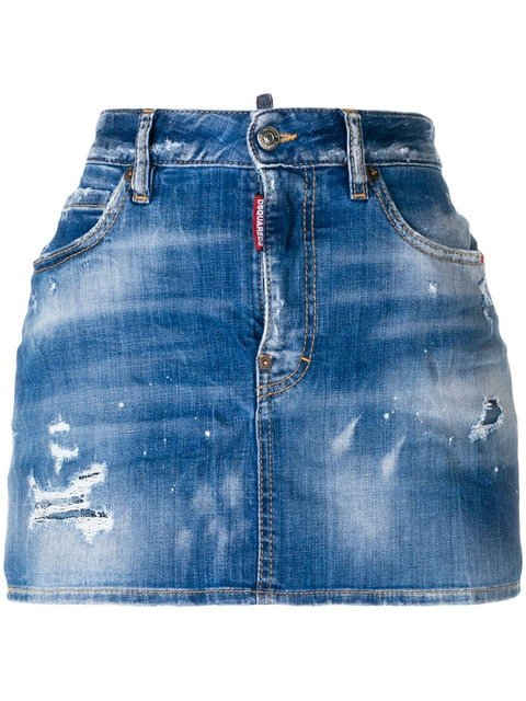 Dsquared2 Distressed Denim Skirt - Farfetch