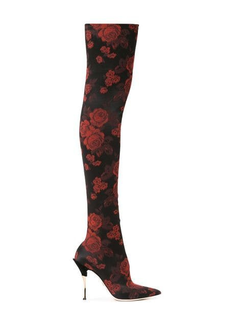 Dolce & Gabbana Rose-jacquard Over-the-knee Boots - Farfetch