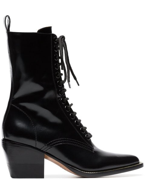 Chloé Black 60 Lace-up Leather Boots - Farfetch