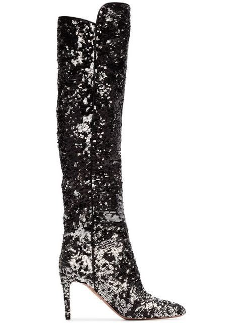 Aquazzura Gainsbourg 85 Silver Sequin Boots - Farfetch