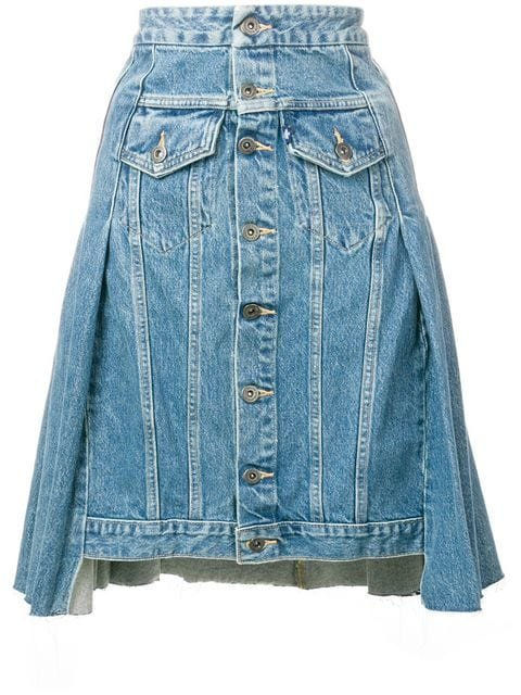 Levi\'s: Made & Crafted Button Denim Skirt - Farfetch