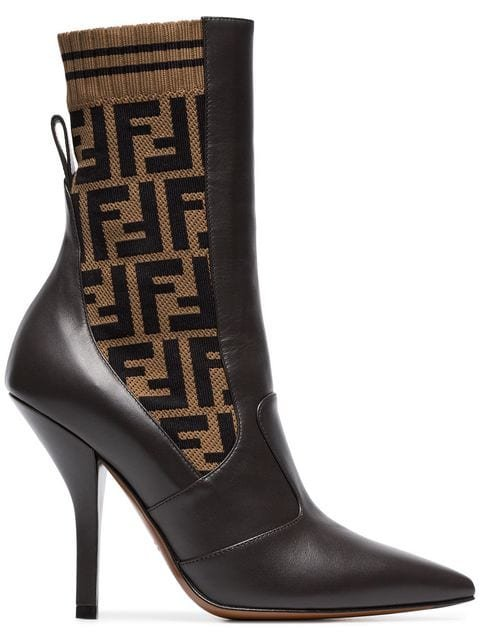 Fendi Rockoko 105 Leather And Fabric Ankle Boots  - Farfetch