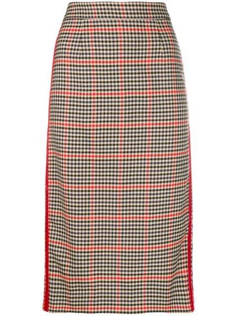 P.A.R.O.S.H. Checkered Print Pencil Skirt  - Farfetch