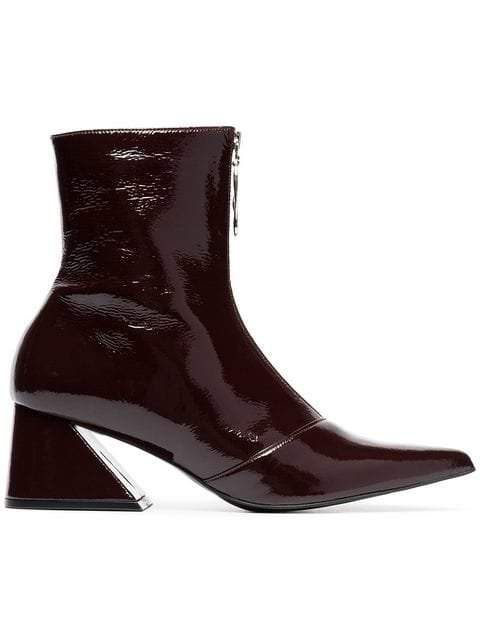 Yuul Yie Burgundy 60 Zipped Patent Leather Boots - Farfetch