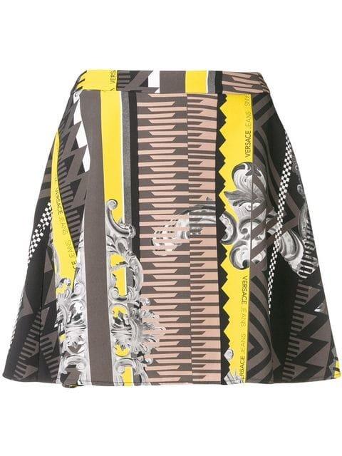 Versace Jeans Printed A-line Mini Skirt - Farfetch