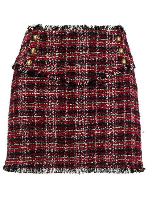 Pinko Frayed Tweed Mini Skirt - Farfetch