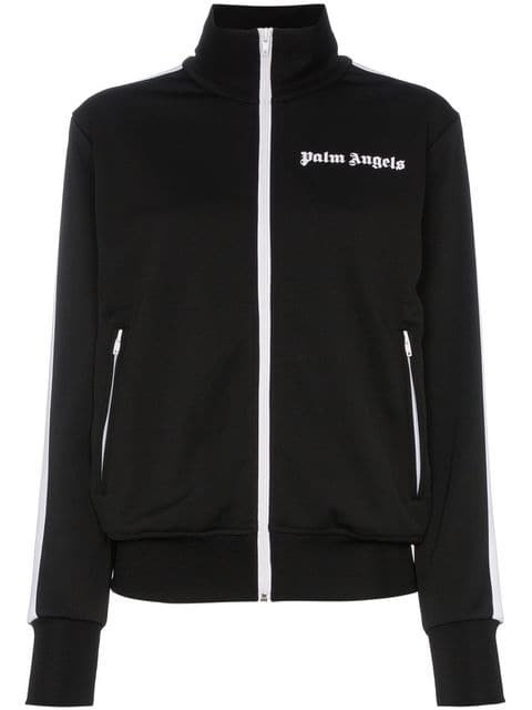 Palm Angels Striped Logo Embroidered Satin-jersey Track Jacket - Farfetch